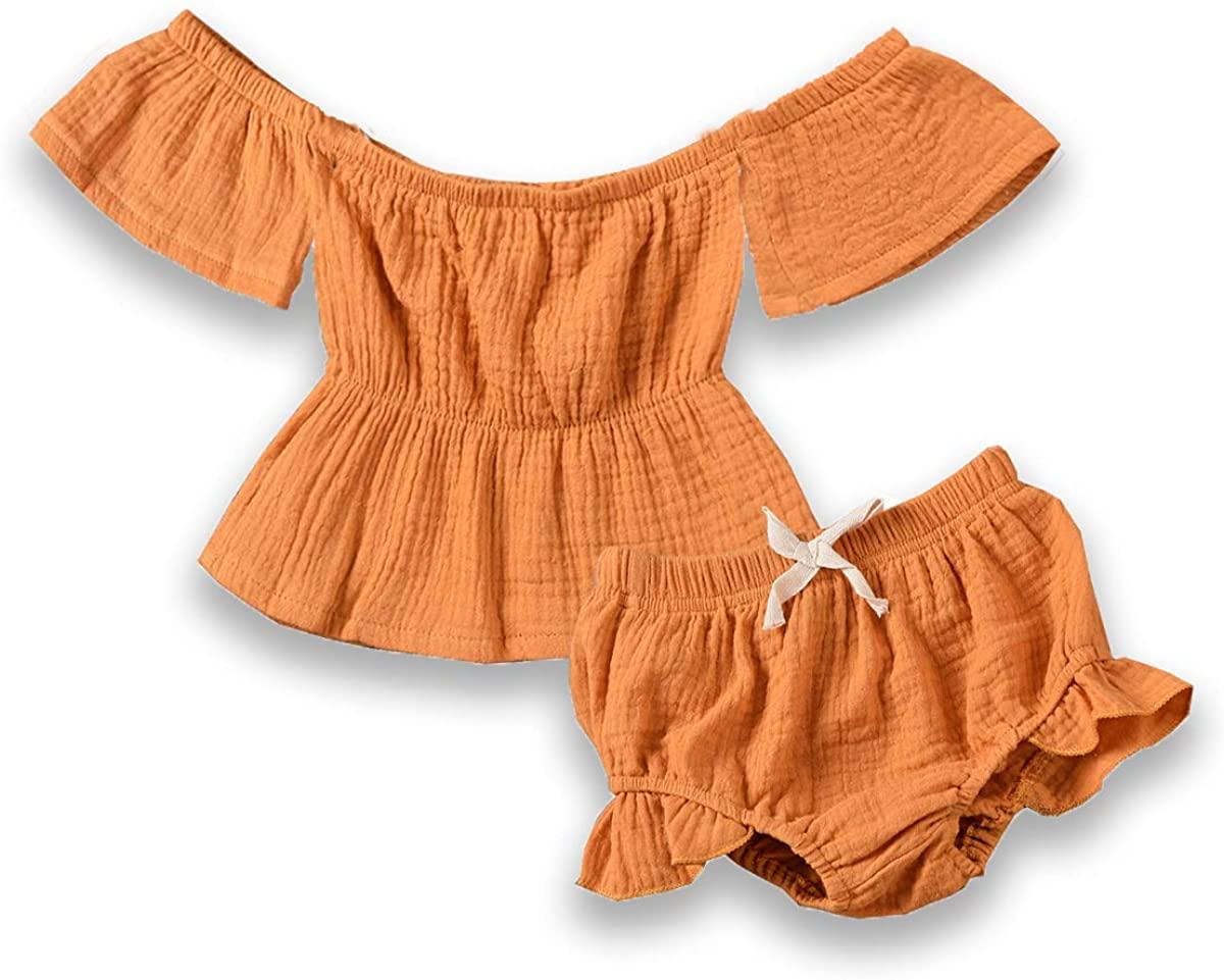 2PCS Toddler Baby Girls Summer Short Set Clothes Ruffle Dress Top + Short Set Linen Outfits
