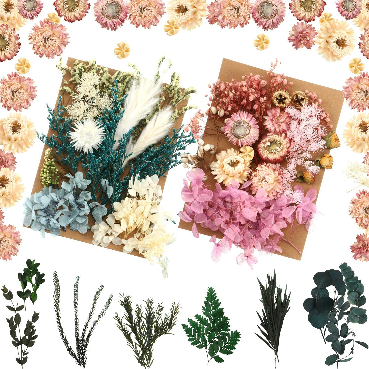3 Sets Natural Dried Flowers Real Dried Flowers Assorted Colorful Dry Flower Leaves Petals Mixed Dried Plants for for DIY Candle Soap Resin Jewelry Earring Crafts Home Decoration