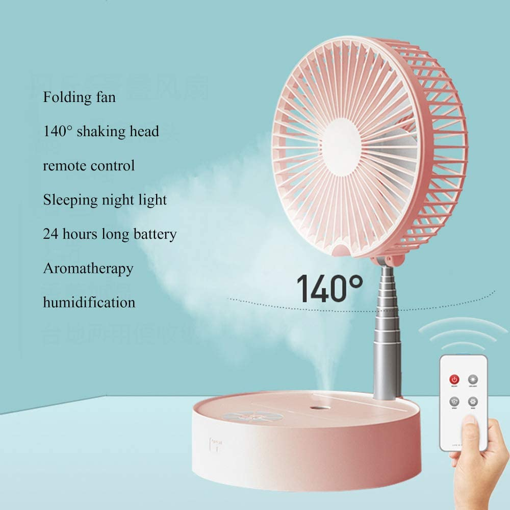 GE&YOBBY Folding USB Desk Fan,Portable Telescopic Floor Adjustable Height and Head Air Cooler with Rechargeable Battery and Remote Control for Office Outdoor Pink
