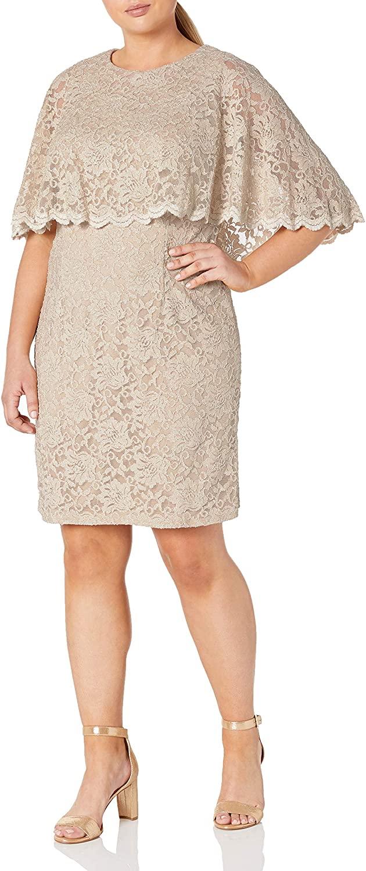 Jessica Howard Womens Plus Size Scallop Capelet Dress