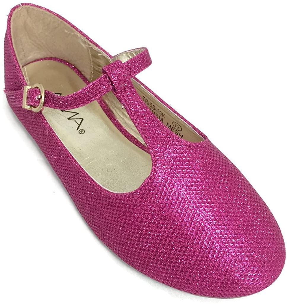 Bella Marie Kids Mary Jane T-Strap Ballet Flats Shoes Fuchsia
