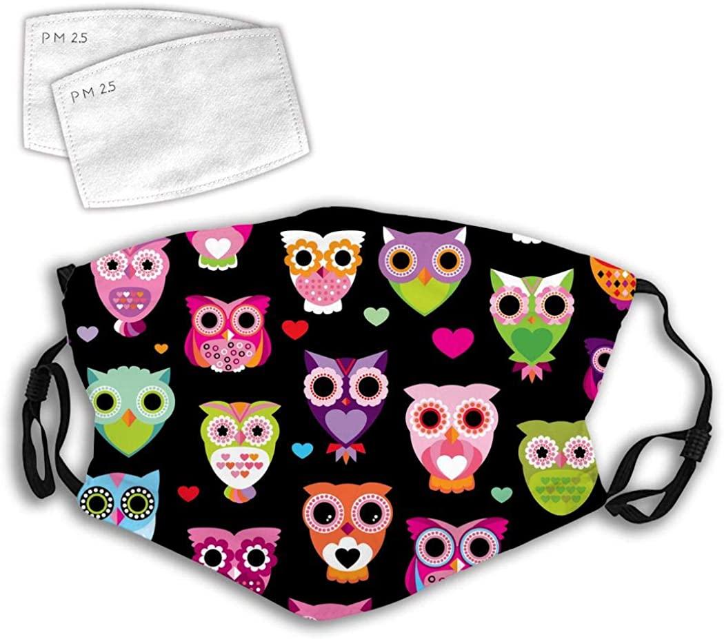 Owl Unisex 3D Digital Printing Funny Facial Decorations Adjustable Dustproof with 2 PCS Filters