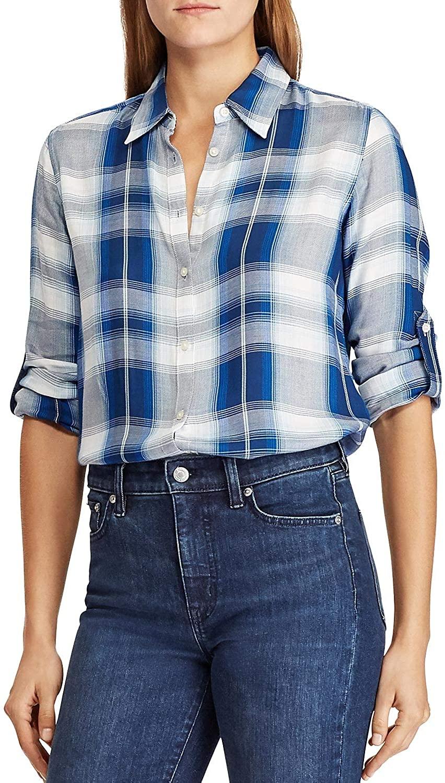 LAUREN RALPH LAUREN Womens Plaid Long Sleeves Button-Down Shirt Blue S