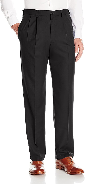 Haggar Men's Cool 18 Pro Classic Fit Pleat Front Expandable Waist Pant, Black, 44Wx29L