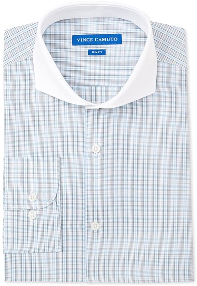 Vince Camuto Mens Check Button Up Dress Shirt