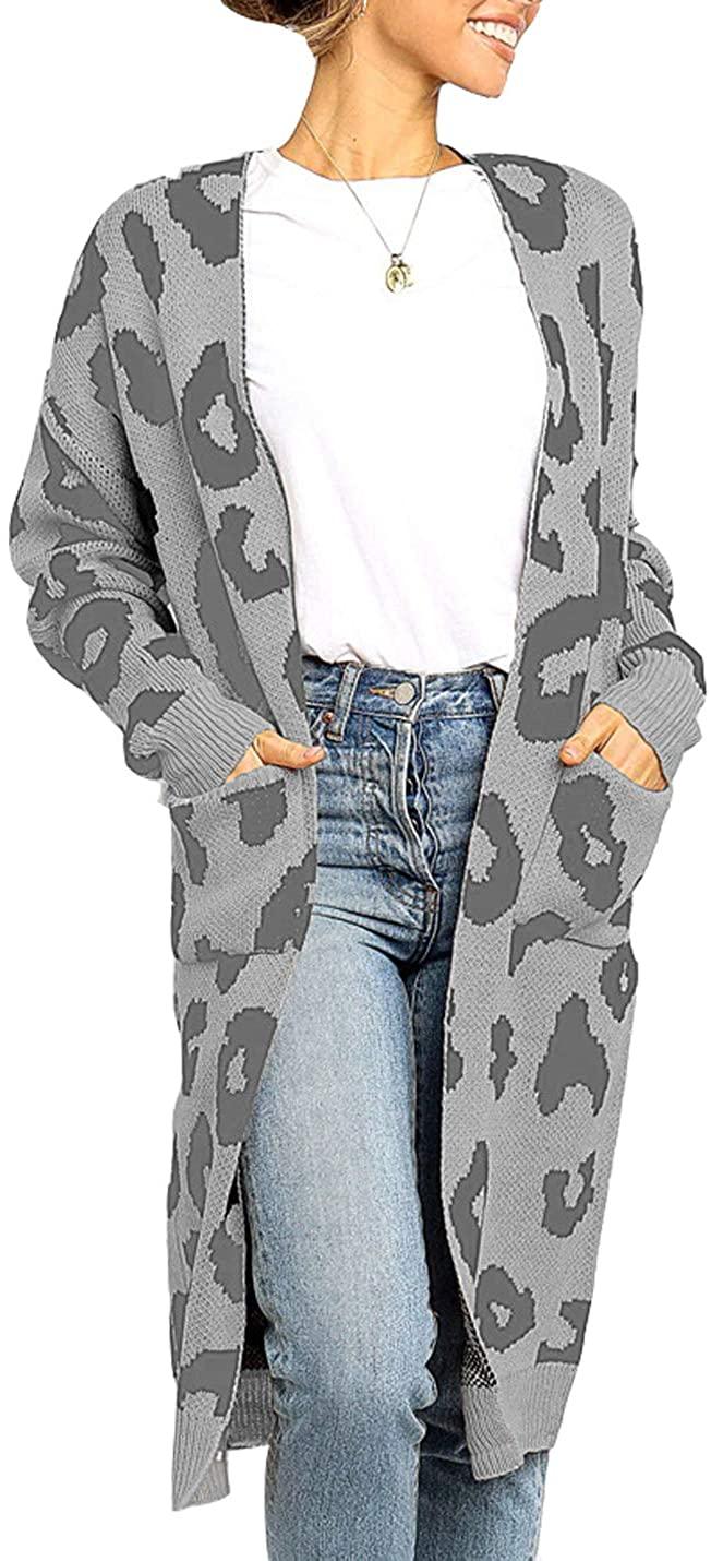 Hongsui Women's Long Sleeve Leopard Knit Cardigan Warm Fashionable Sweater Jacket with Pockets