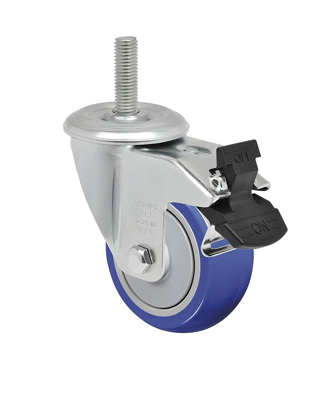 Schioppa L12 Series, GLEHH 312 TP G, 3 x 1-1/4 Swivel Caster with Total Lock Brake, Non-Marking Thermoplastic Compound Wheel, 150 lbs, 12 mm Diameter x 50 mm Length Threaded Stem