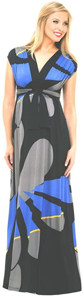 Olian Maternity Empire Geometric Print Maxi Dress