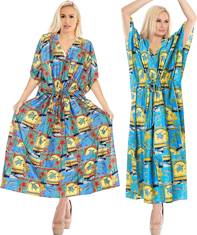 LA LEELA Women's Plus Size Kaftan Summer Beach Dress Caftan US 14-22W Pack of 2