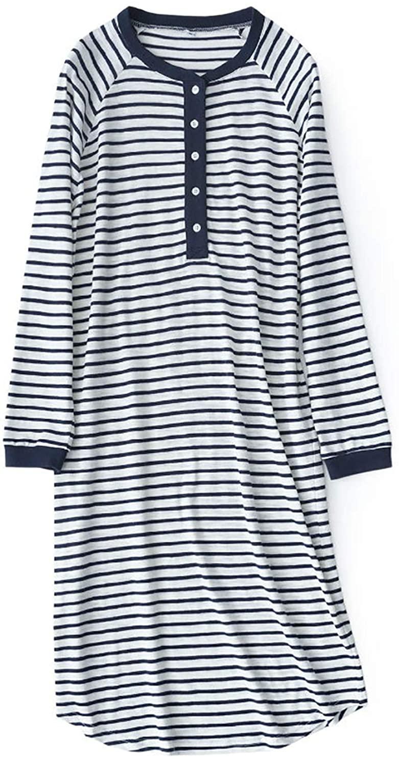 Lerbe Women's Striped Long Sleeve Sleep Dress Nightgowns Sleepwear