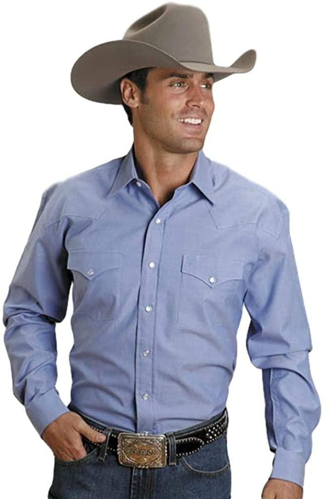 Stetson Men's Solid Oxford Snap Long Sleeve Western Shirt - 11-001-0465-1027Gr