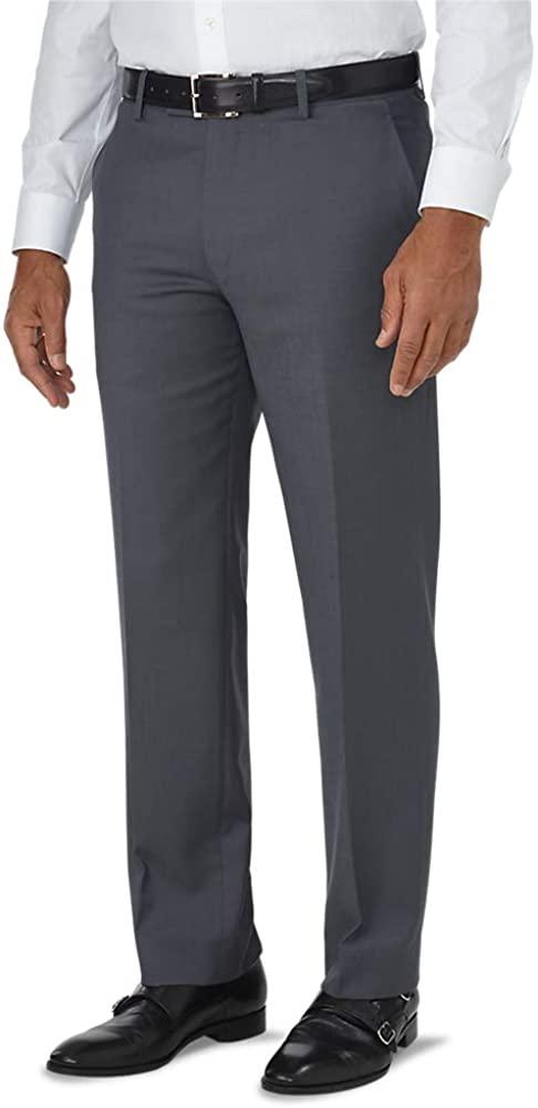 Paul Fredrick Men's Tailored Fit Luxury Wool Flat Front Pant