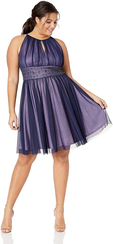 Jessica Howard Plus Size Womens Keyhole Sleeveless Dress