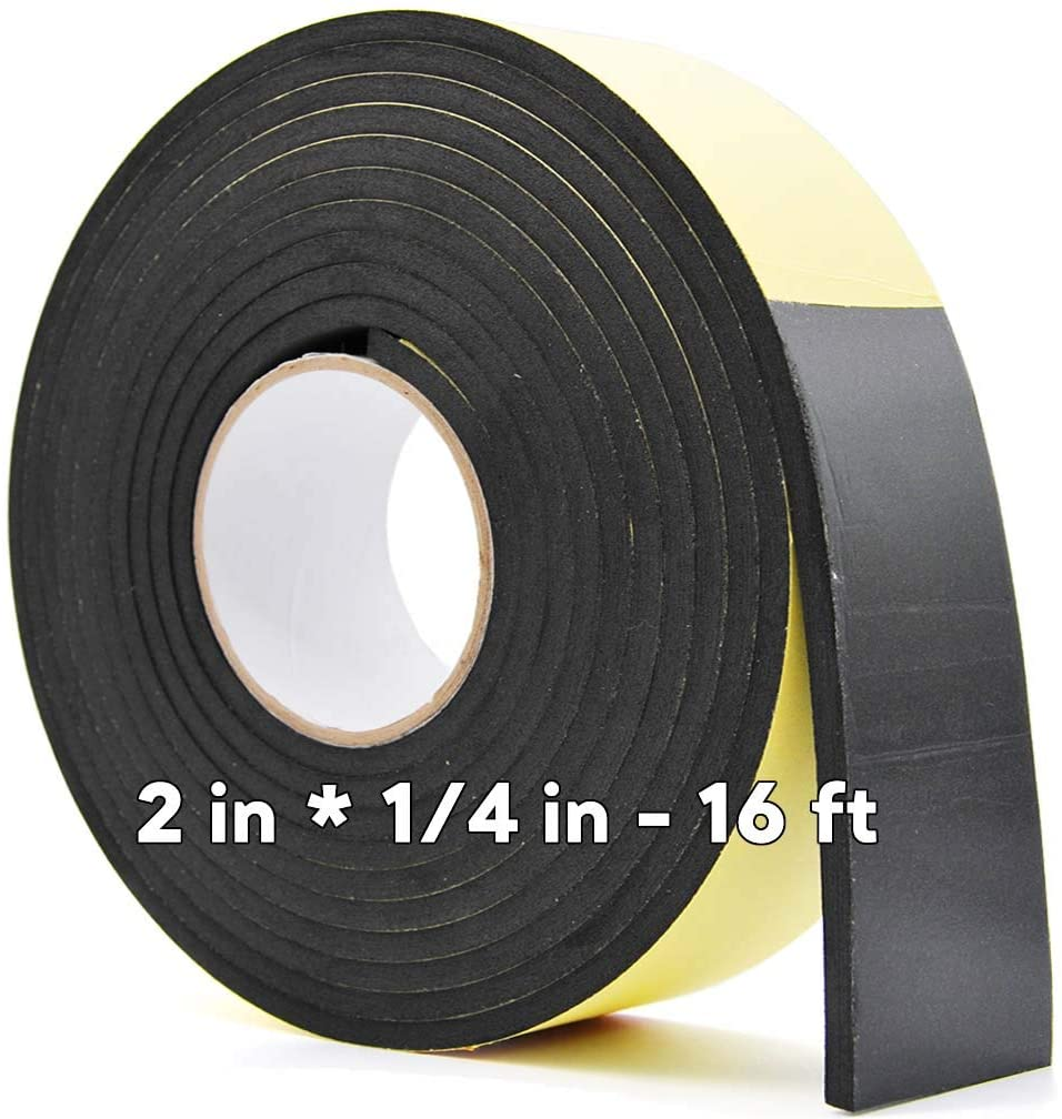 Foam Rubber Seal Strip -2 W x 1/4 T- Adhesive Tape Foam Tape Closed Cell Foam Strip Automotive Weather Stripping