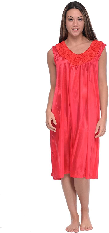 Casual Nights Women's Sleeveless Flower Satin Nightgown