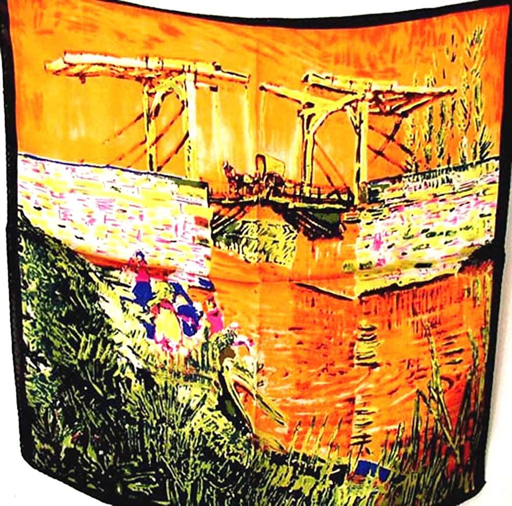 100% Silk Scarf Bandana Headband Vincent Van Gogh The Langlois Bridge A1091