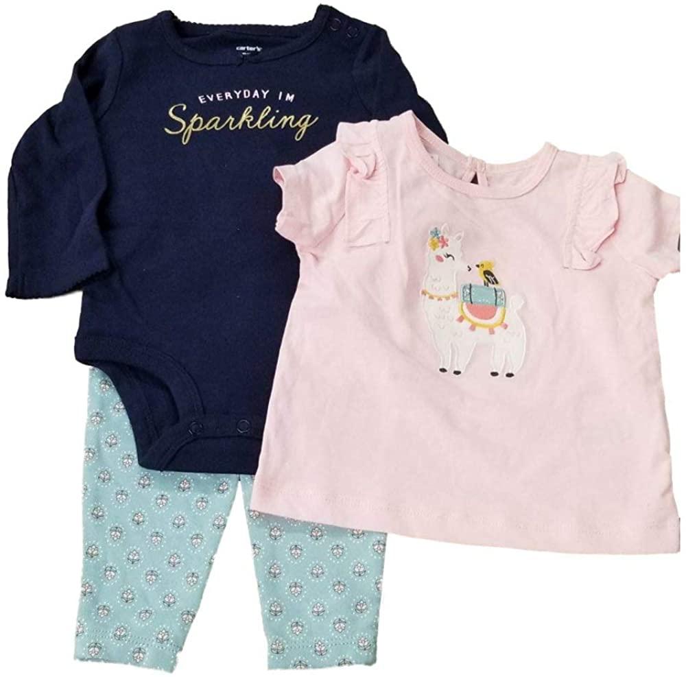 Carter's 3 Piece Baby Girl Llama Pant Set