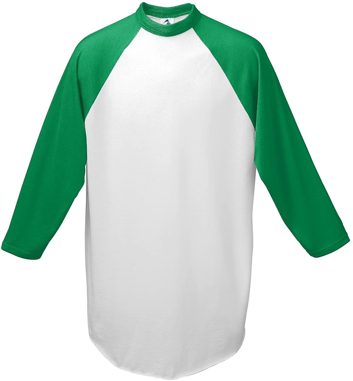 Augusta-Baseball Jersey Raglan 3/4 sleeves~White/Kelly Green~Adult-XL