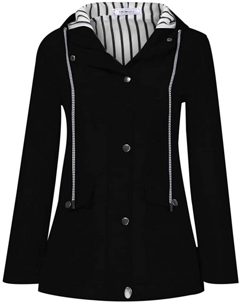 Gleamfut Women's Windproof Hooded Raincoat Plus Size Solid Sweatshirt Autumn Outdoor Waterproof Windproof Zipper Coat