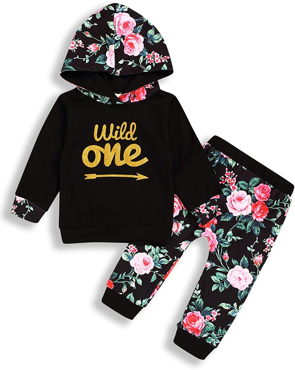Baby Girl Birthday Clothes Wild One Long Sleeve Hoodie Tops and Flowers Pants Outfit