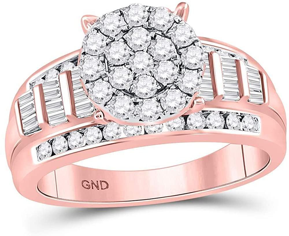 Dazzlingrock Collection 10kt Rose Gold Round Diamond Cluster Bridal Wedding Engagement Ring 1 Cttw