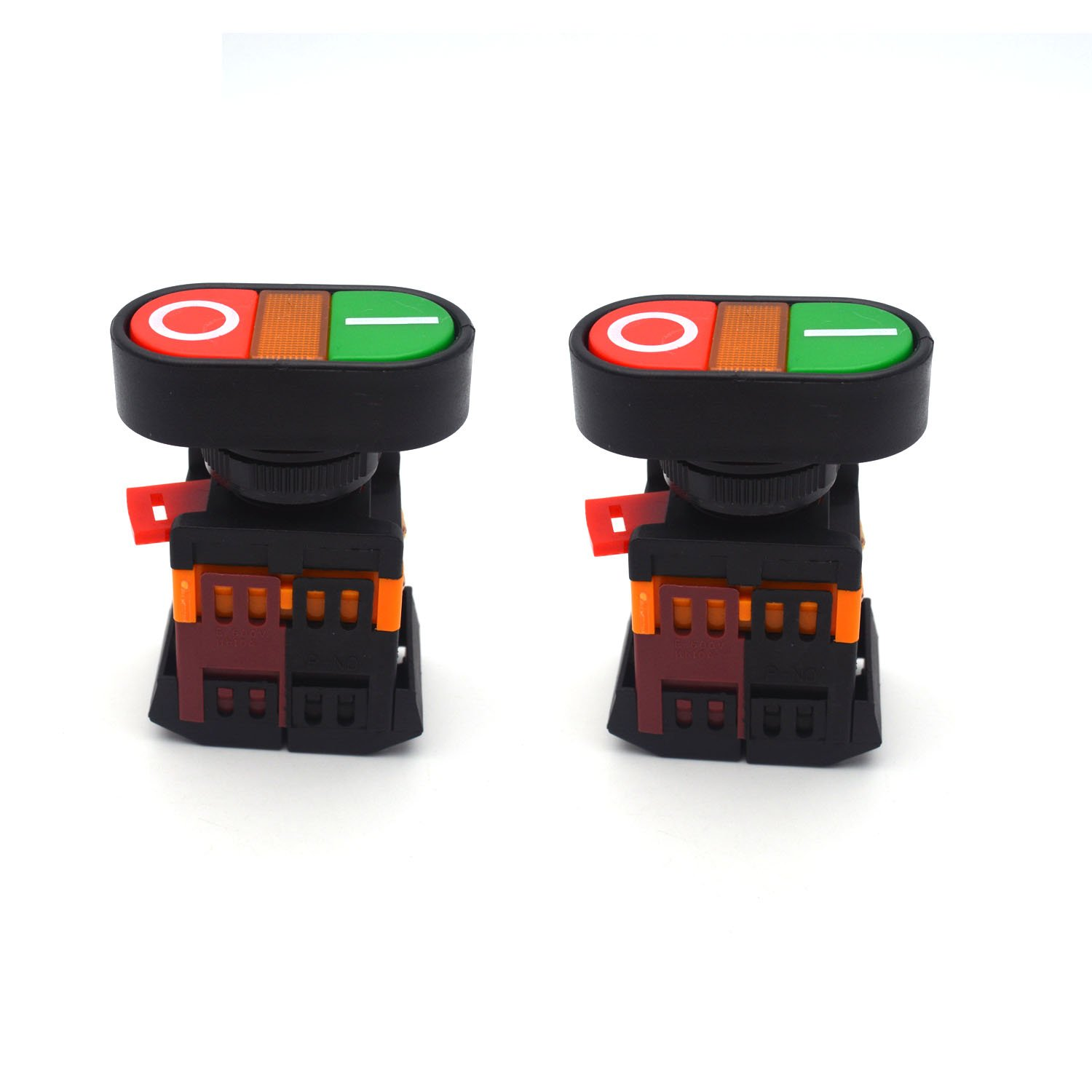 Antrader AC 600V 10A ON/Off Start Stop Momentary Push Button Switch with Indicator Light APBB-22&25N Pack of 2