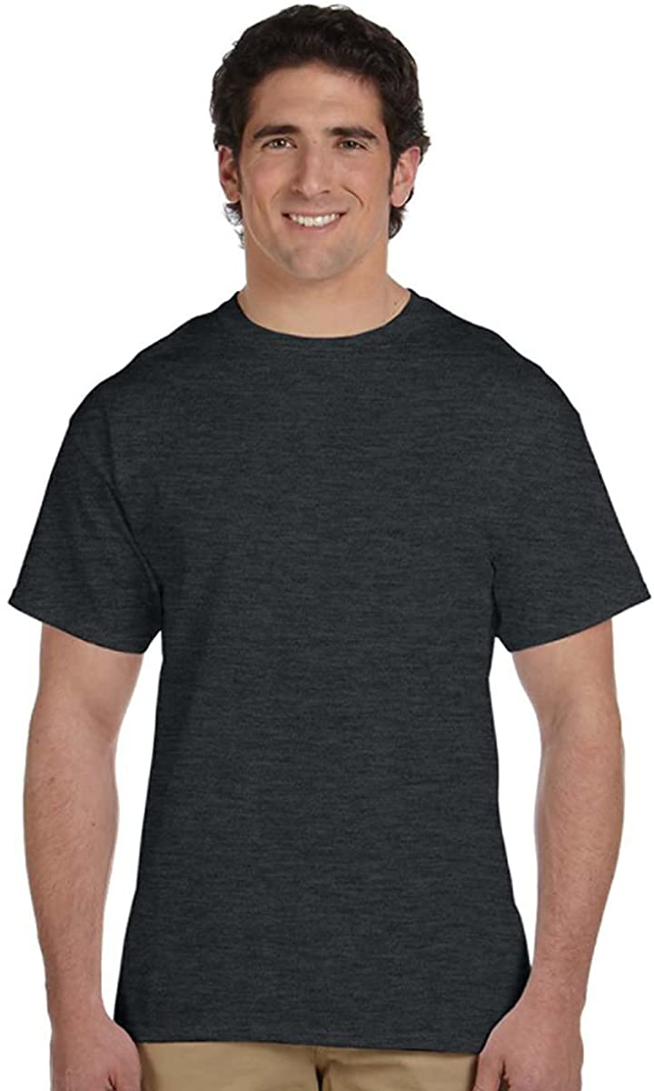 Fruit of the Loom Heavy Cotton T-Shirt, Black Heather, XL (Pack of 2)