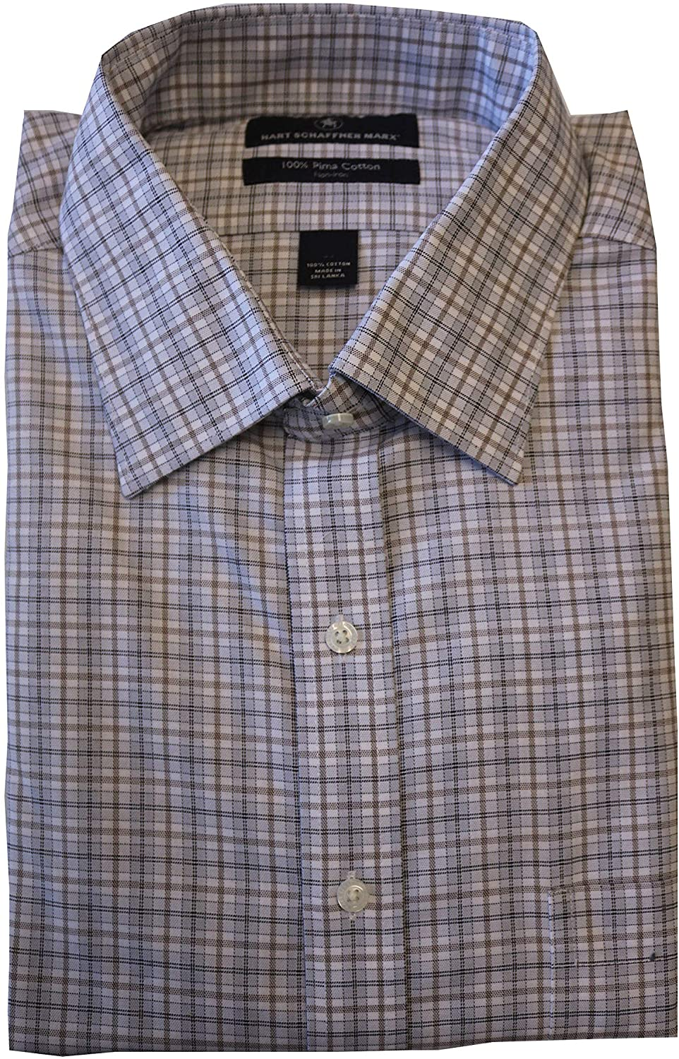 Hart Schaffner Marx Non Iron Classic Fit Plaid and Check Spread Collar Dress Shirt F85DI013 Tan Multi