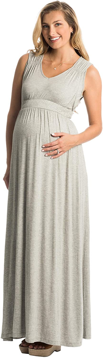 Everly Grey Womens Maternity Valeria Maternity & Nursing Sleeveless Goddess Maxi Dress
