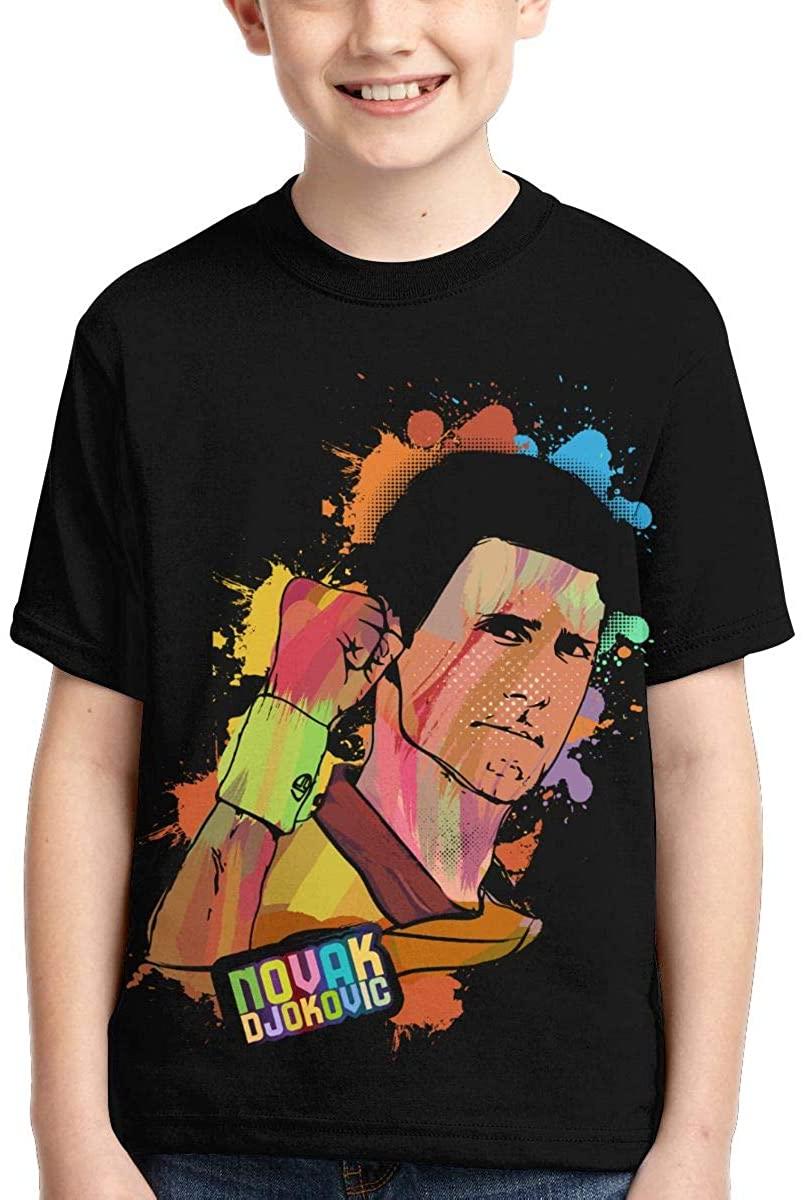 Novak Djokovic Graphic Boy Shirts Casual Short Sleeve T Shirt for Kids Black