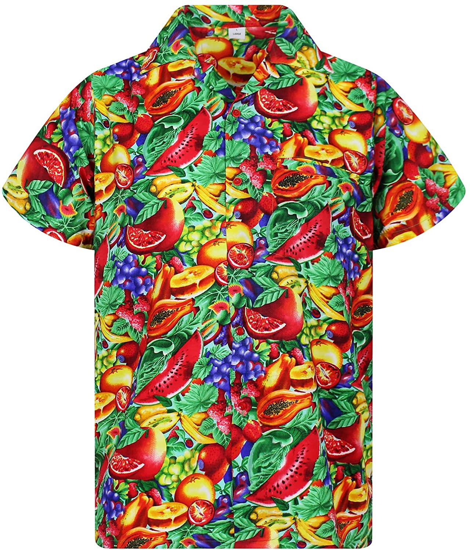 V.H.O. Funky Hawaiian Shirt for Men Short Sleeve Front-Pocket TuttiFrutti, Fruits