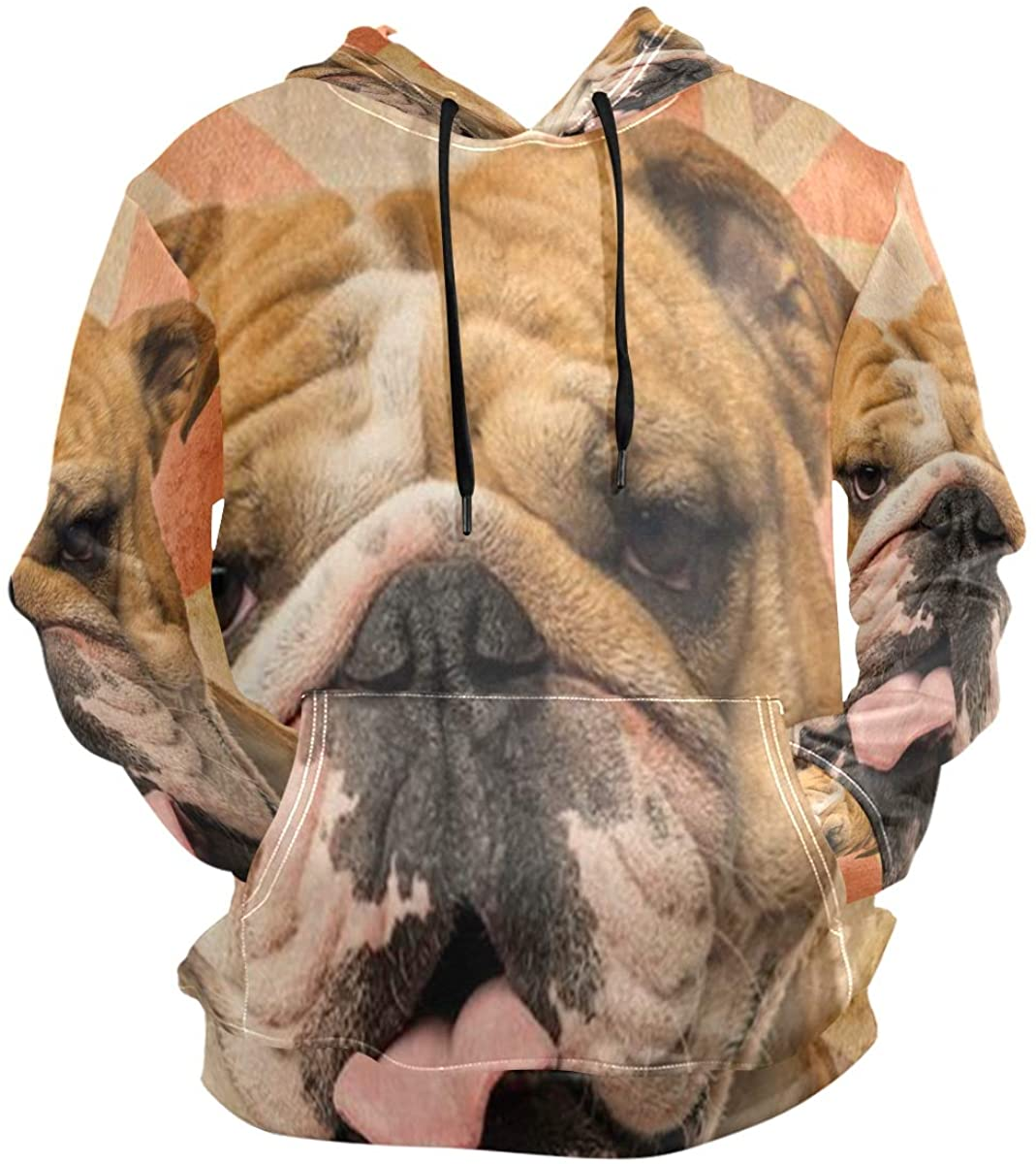 SLHFPX Bulldog Hoodie 3D Pullover Hooded Long Sleeve Workout Sweatshirts