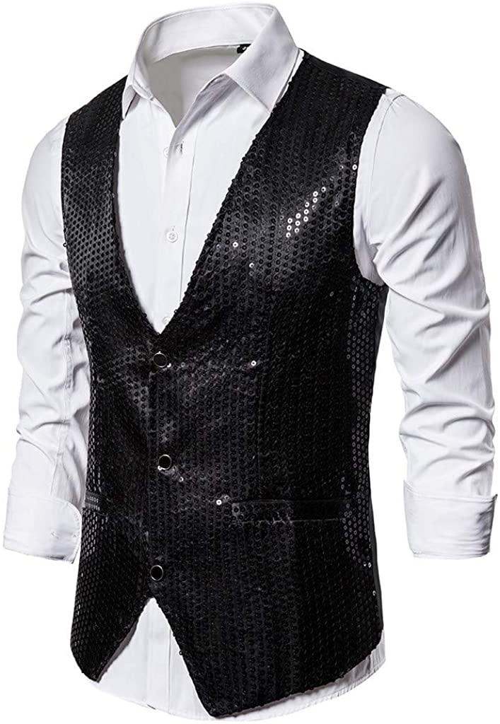MoonHome Men's Gold Sequined Suit Vest Performance Costume Wedding Vest Vest