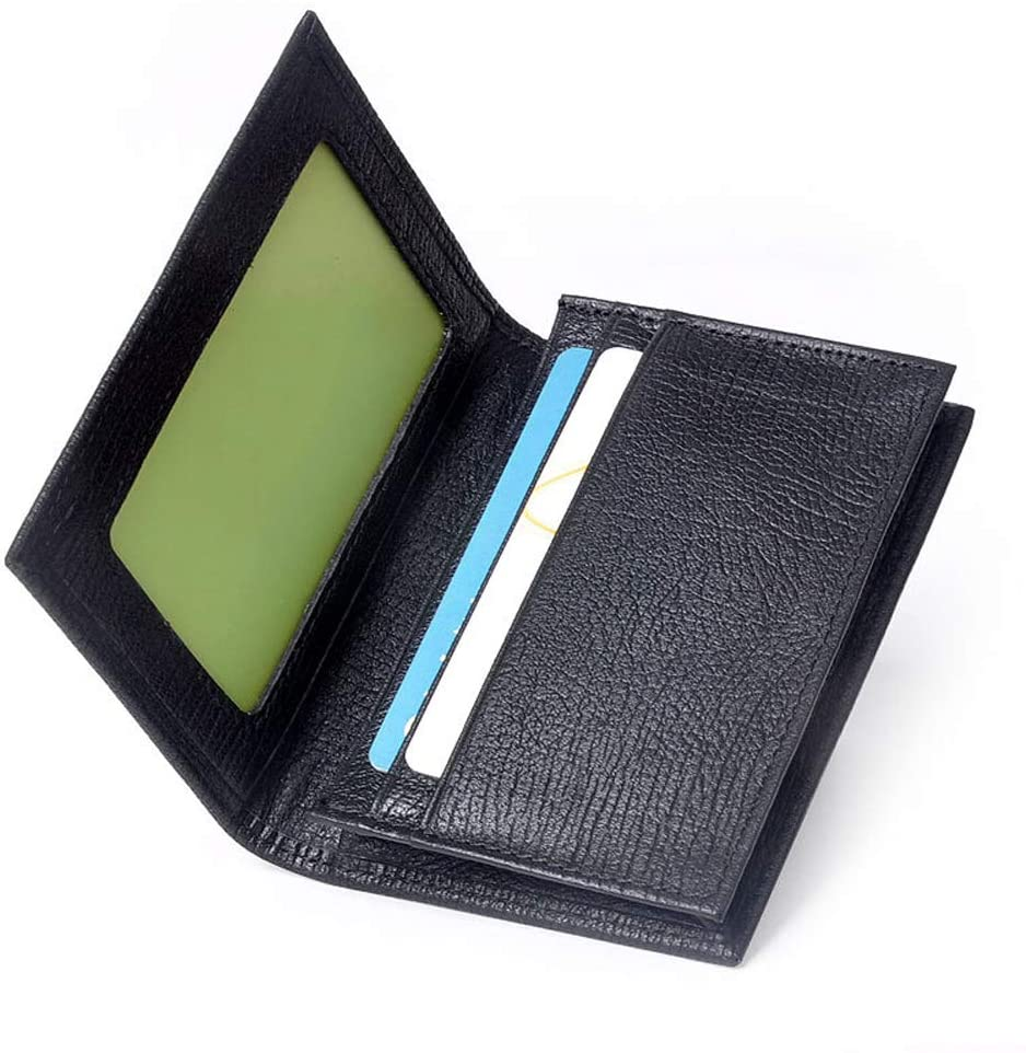 SSLLPPAA Business Card Holder, Large Capacity Men's Leather Card Case, Storage and Wallet, Suitable for Company/Company Use, Black