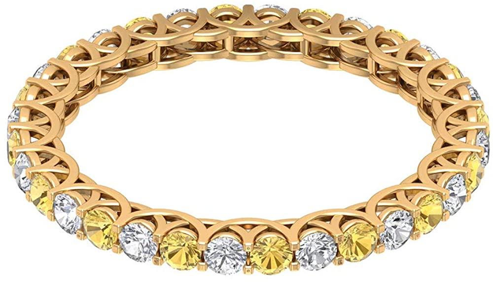3/4 Ct Certified 2mm Citrine Wedding Band Ring, 1/2 Ct Classic Diamond Eternity Ring, Gemstone Engagement Ring, Statement Women Partywear Ring, 14K Gold