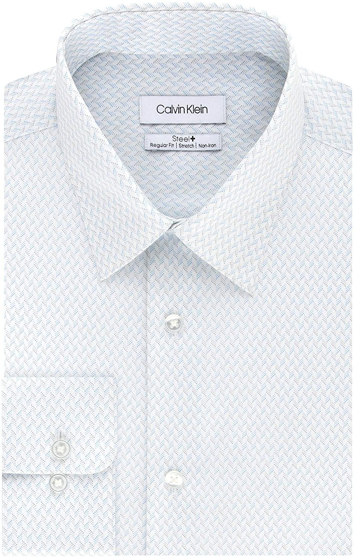 Calvin Klein Mens Dress Shirts Non Iron Regular Fit Stretch Print