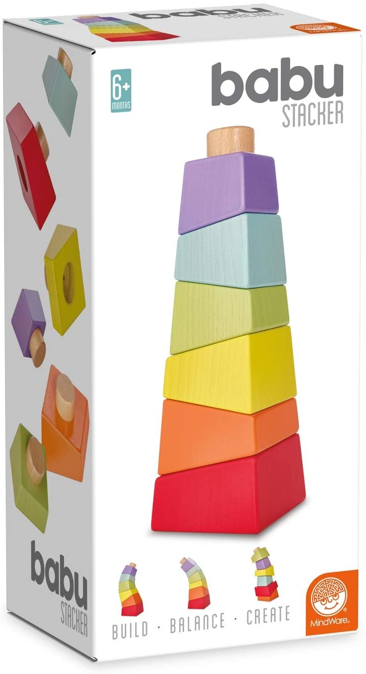 MindWare babu Wooden Baby Collection: Stacker Tower Toy