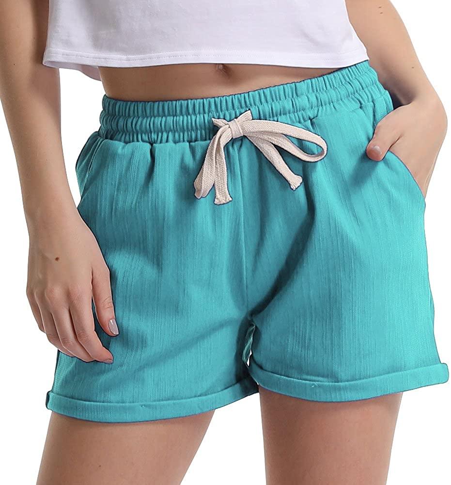 Gooket Women's Drawstring Elastic Waist Casual Comfy Cotton Linen Beach Shorts