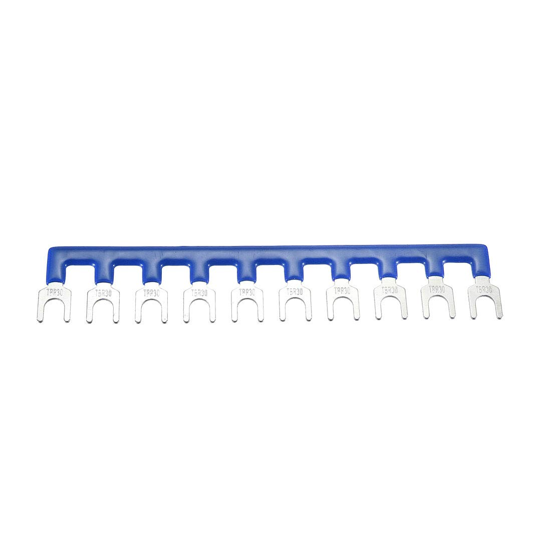 uxcell 600V 30A 10 Positions Terminal Block Barrier Strip Fork Type Pre-Insulated Blue
