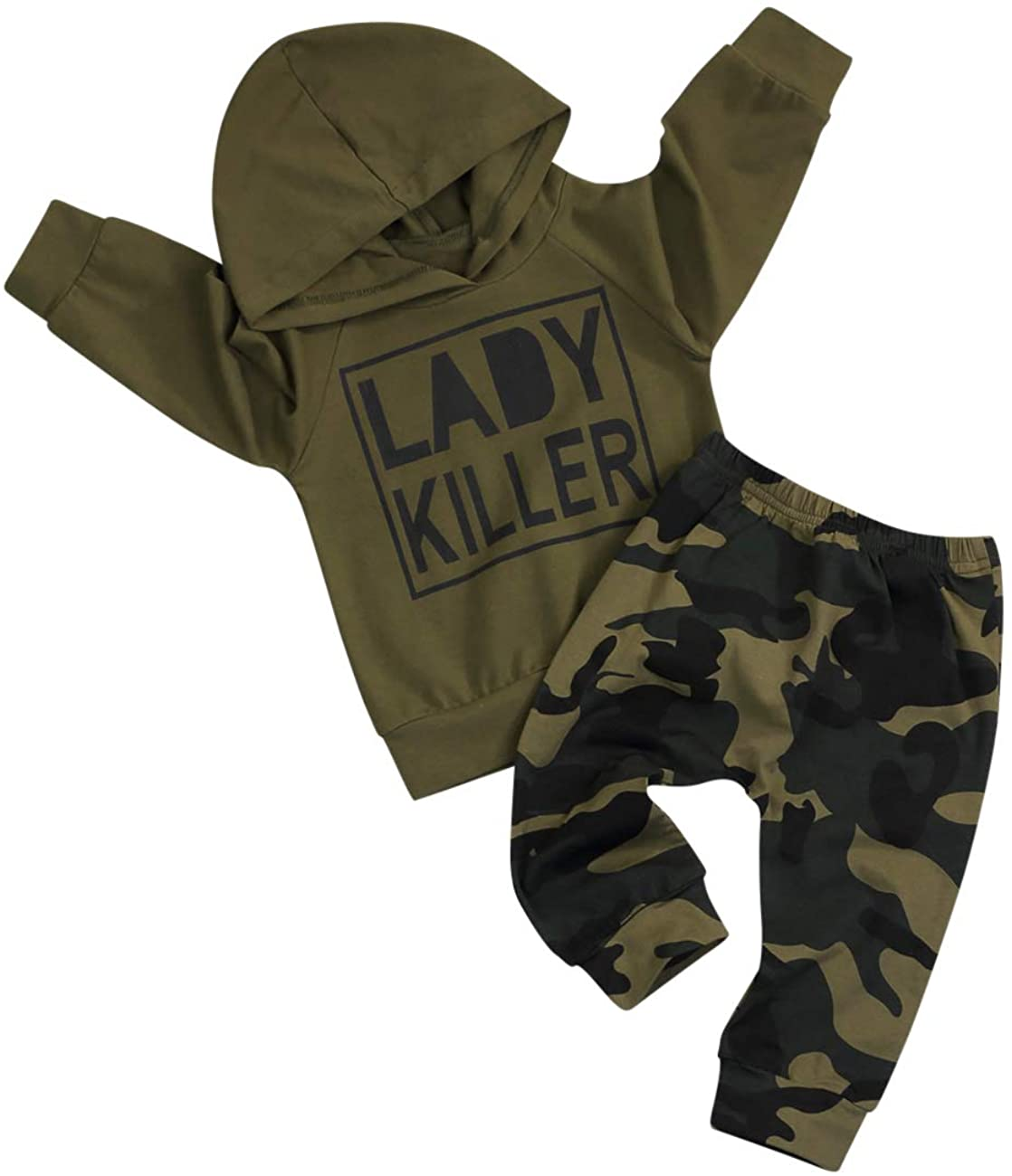 Baby Boy Clothes Letter Print Hoodie Sweatshirt and Camouflage Pants Outfit Set