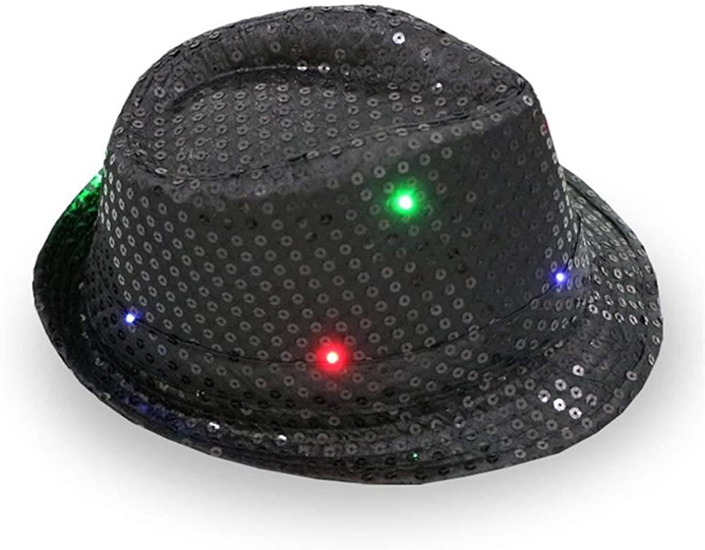 SZCQ LED Fedora Hat for Men Sequins Jazz Light Up Women Hat Cap Boys Girls Fedoras Party Hats