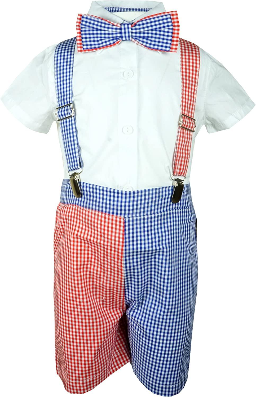 Angeline Baby Toddler Little Boys Vintage Suspender Shorts Bowtie Set - Spring Easter Summer Shorts Set