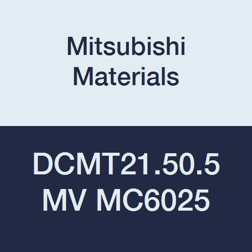 Mitsubishi Materials DCMT21.50.5MV MC6025 CVD Coated Carbide DC Type Positive Turning Insert with Hole, Rhombic 55°, 0.25