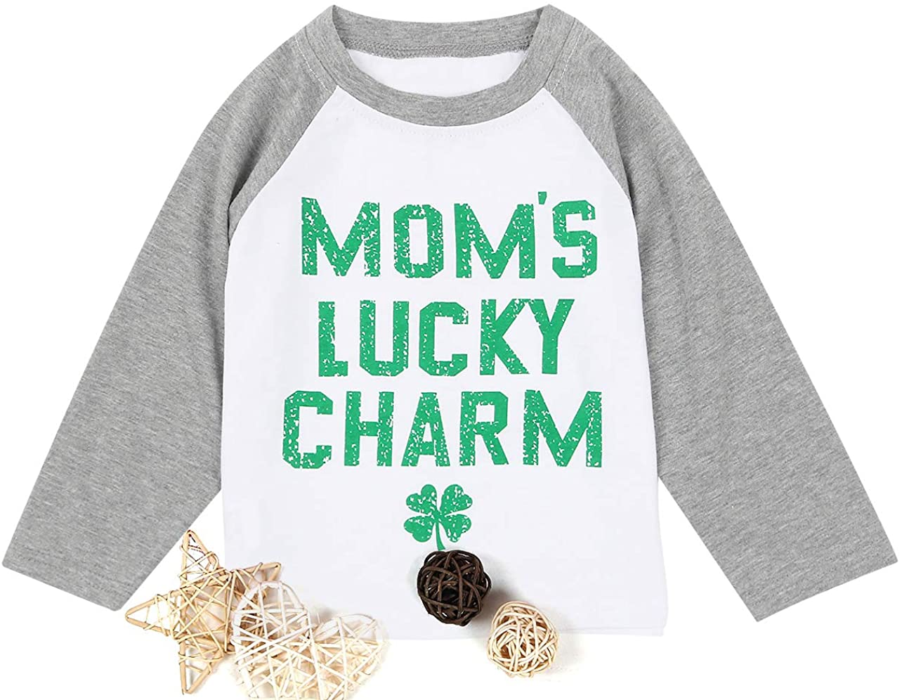 MNLYBABY Baby Moms Lucky Charm T-Shirt Toddler St Patricks Day Clover Print Shirt Casual Long Sleeve Top Tee