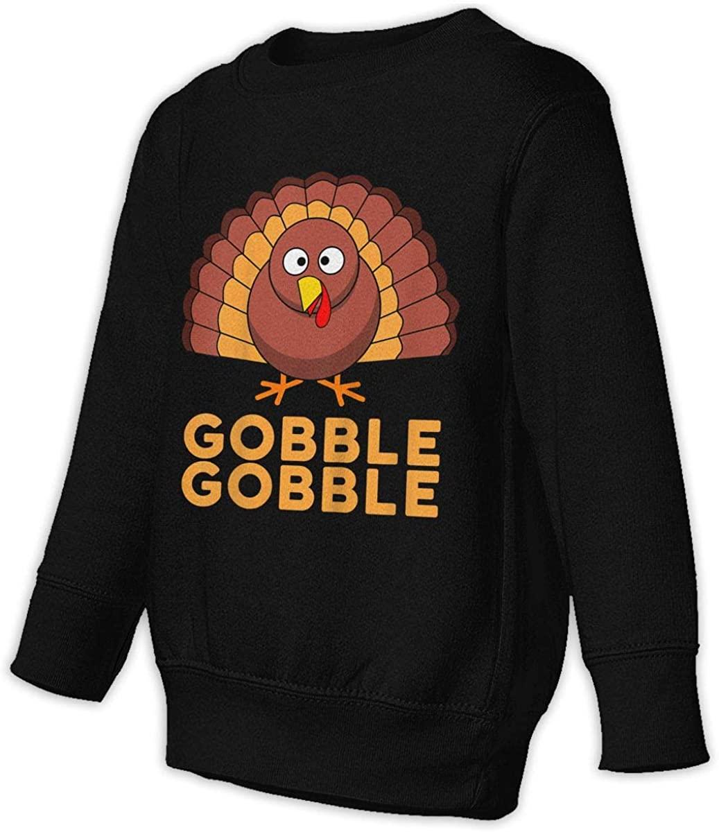 Manbeak Gobble Gobble Unisex Sweatshirt Youth Boy and Girls Pullover Sweatshirt Black