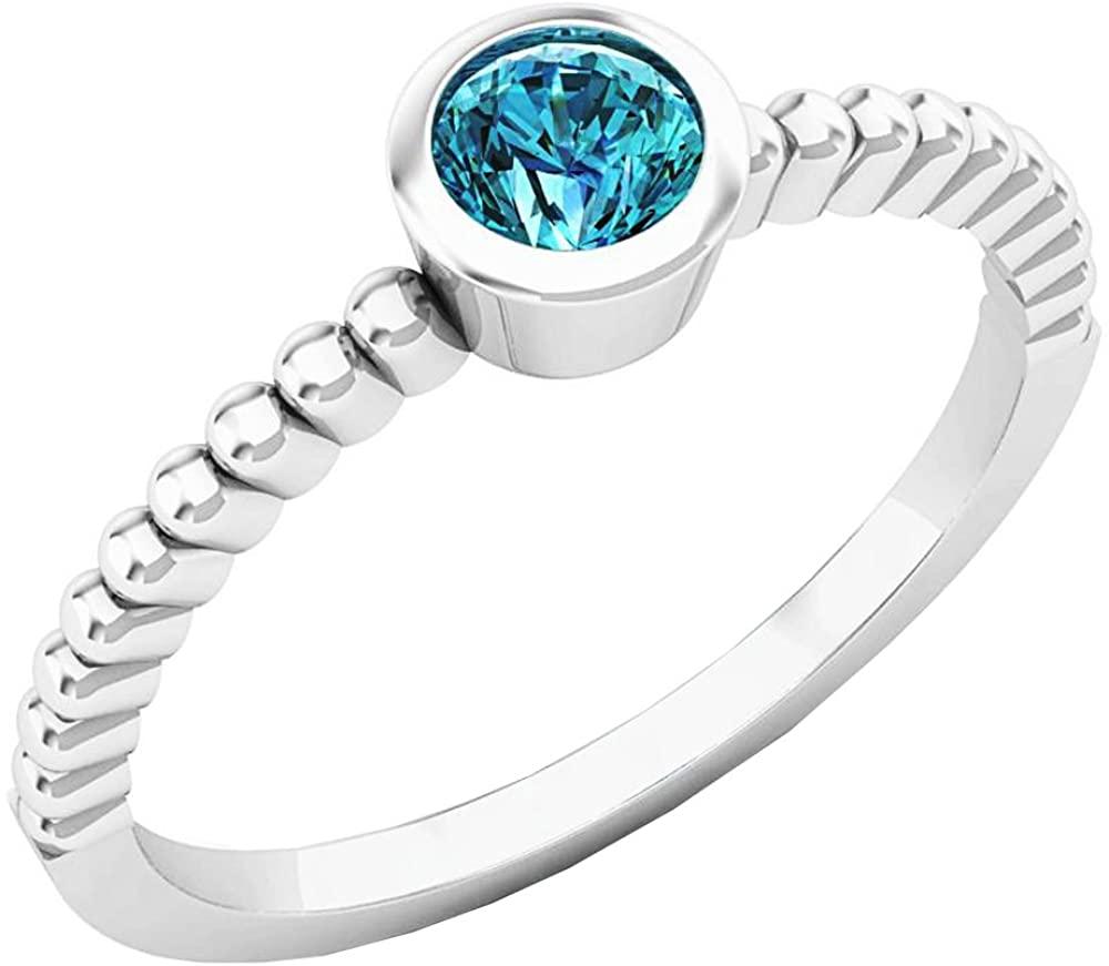 Dazzlingrock Collection 0.25 Carat (ctw) 10K Gold Round Cut Blue Diamond solitaire Engagement Ring 1/4 CT