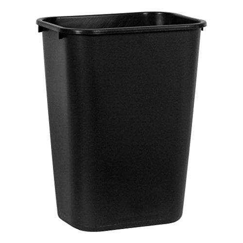 Boss Cleaning Equipment B010184 Black Rectangle Waste Basket, 28-1/8 Quart