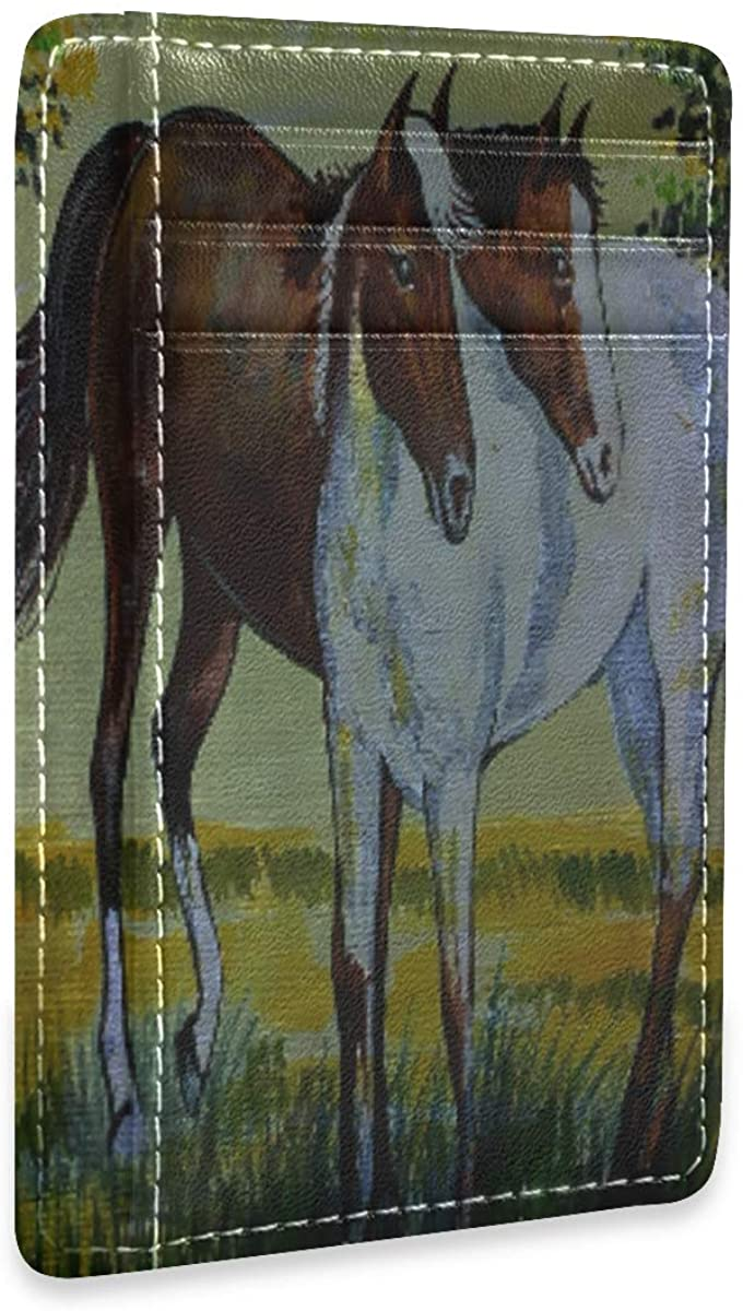 Oil Color Horse Vector Cute Womens Mens Rfid Credit Card Holders Wallet Leather Case Organizer