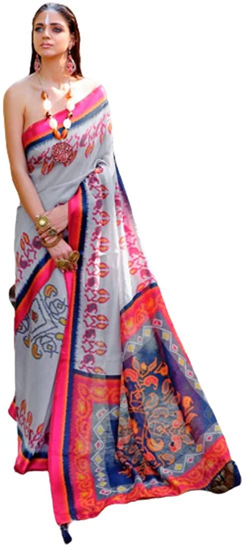 Pinkkart Linen Cotton Digital Print Saree Wedding Party Festive Indian Women Sari Designer Blouse 51