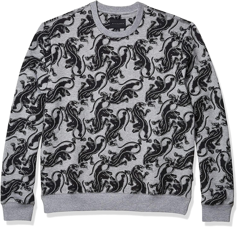 Sean John Men's Allover Panther Long Sleeve Crew Neck Sweatshirt